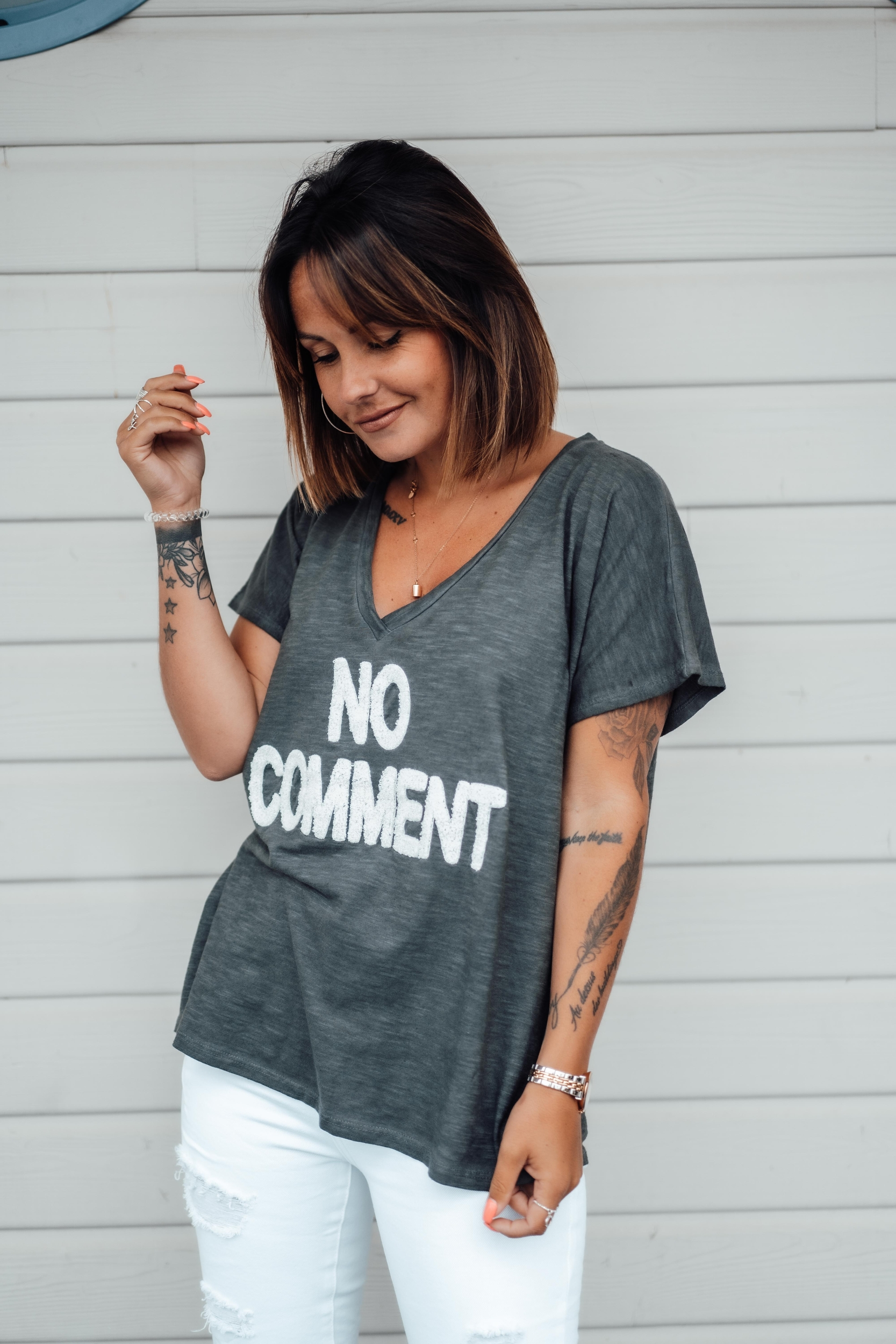 T-shirt NO COMMENT mc anthracite/écru Banditas