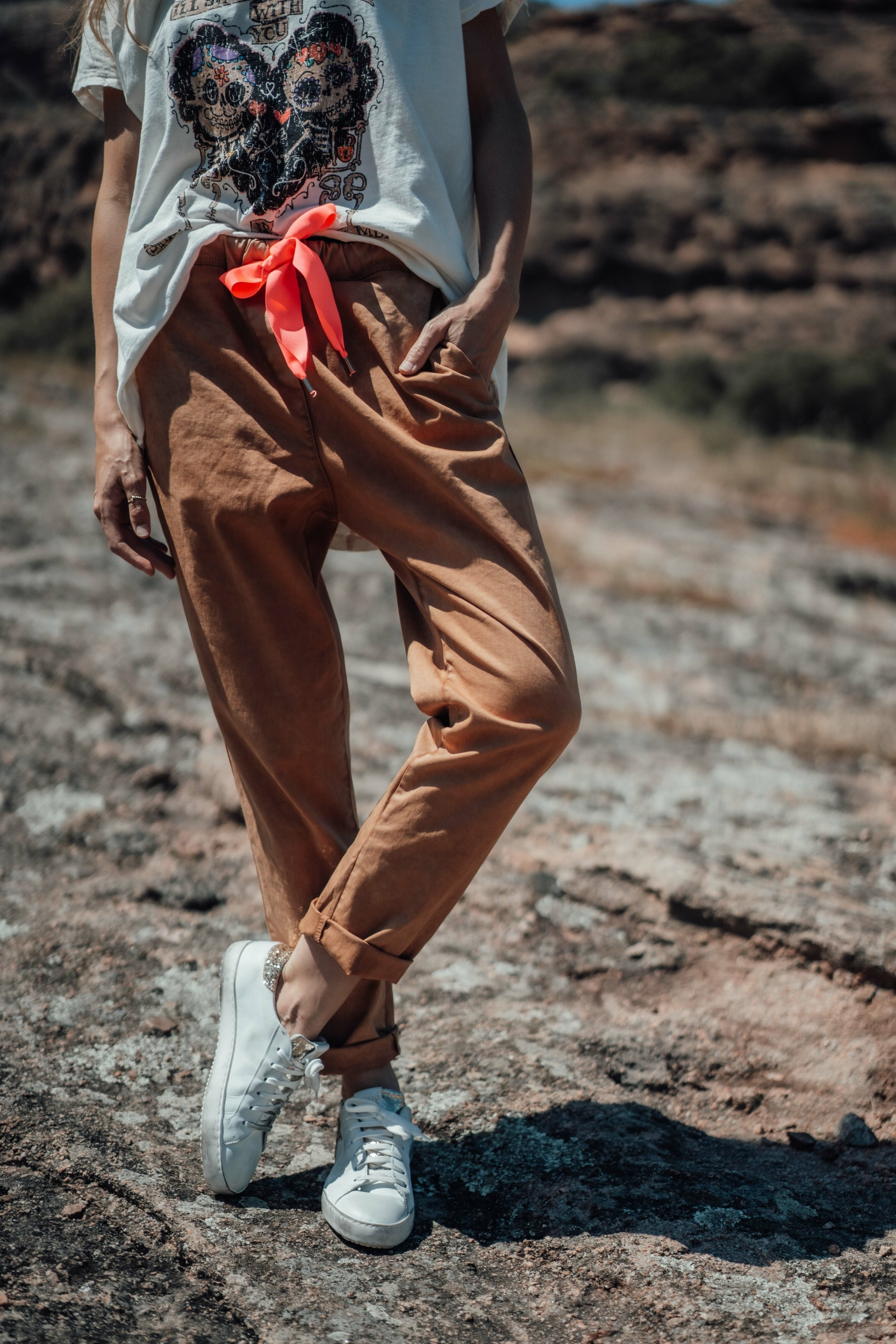 Pantalon JOE camel/rose fluo Banditas
