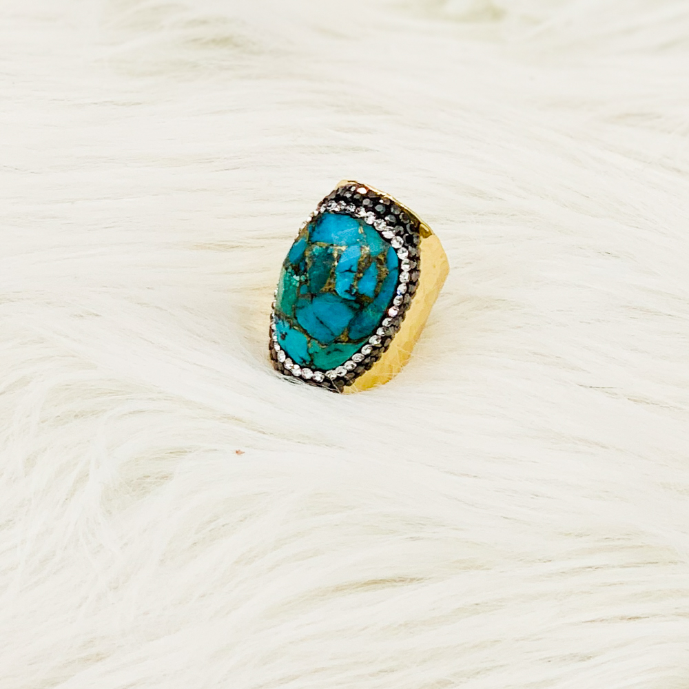 Bague BOHO turquoise or