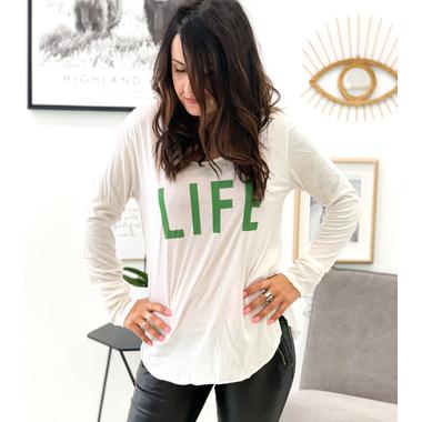 tshirt_life_blanc_vert_banditas