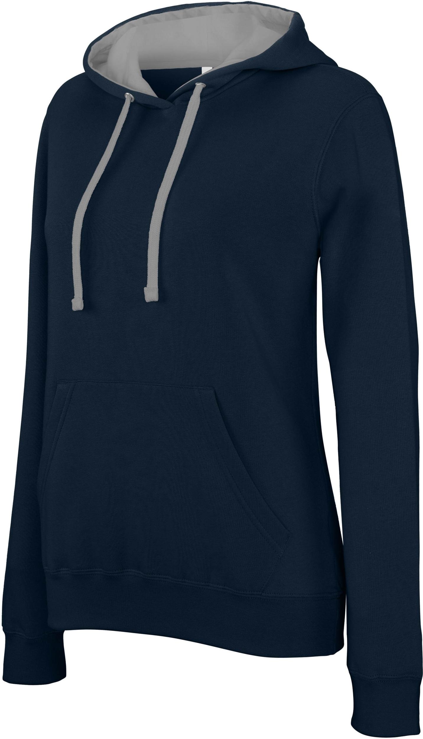 special sales online shop united states Sweat-shirt Pixit NON ZIPPE - Femme - Bleu Navy / Capuche Grise - Poches  kangourou -Passe fil écouteurs dans la poche kangourou et encolure - 280/gm²