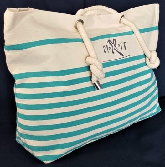 marin Grand canvas en style plage sac en Anses vert coton de qTxTXOF