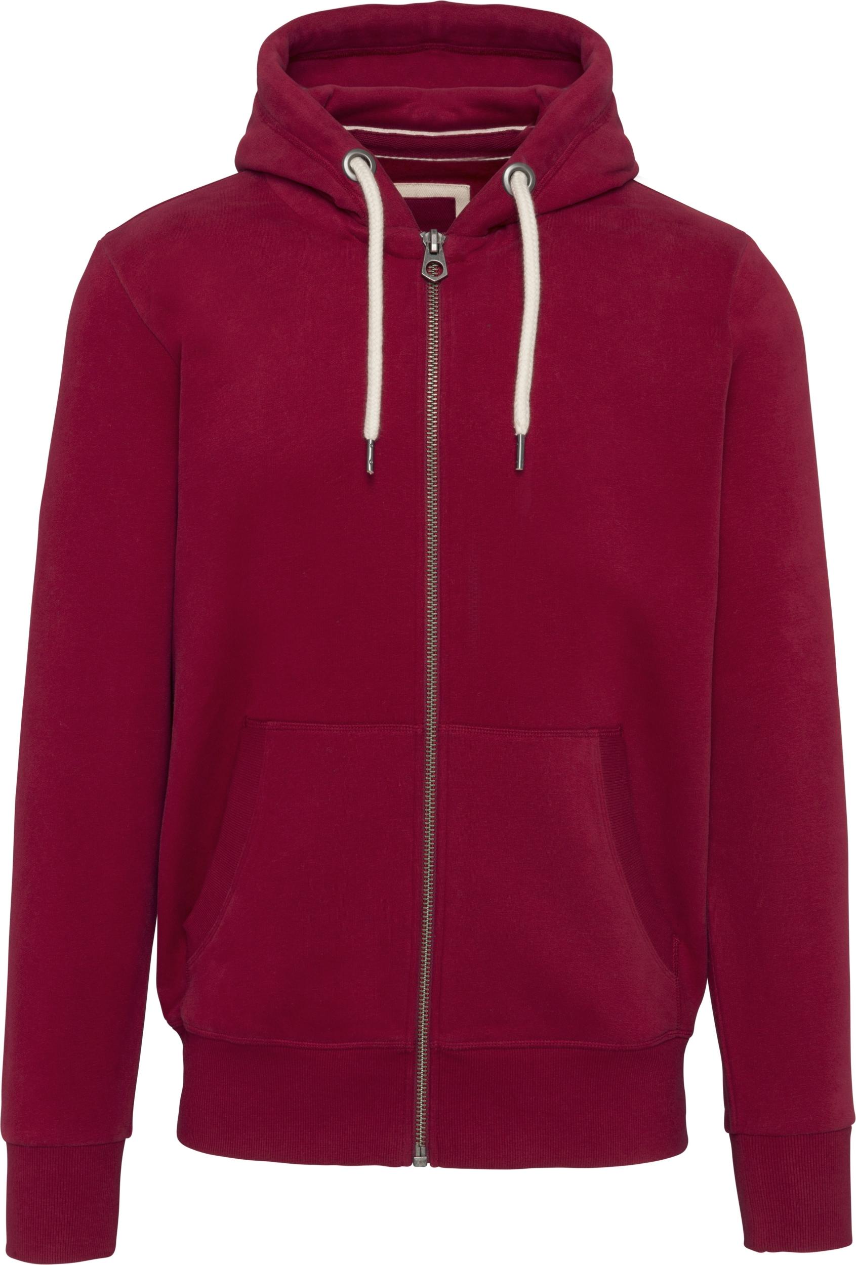 Sweat shirt vintage Rouge zippé à capuche homme Molleton gratté 80% coton 20% polyester Toucher peau de pêche et aspect