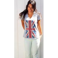 Tee-shirt PIXIT - Drapeau Union Jack - Vintage - Gris -  Col V - Coupe Cintrée - Près du corps