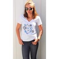 Tee-shirt PIXIT - Design carré- Blanc  Col V - Coupe Cintrée - Près du corps