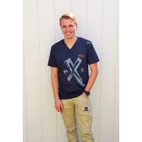 Tee-shirt symbole PIXIT - Bleu Navy - Col V - Coupe ajustée