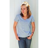Tee-shirt PIXIT - Constellation Florale - Gris - Col V - Coupe Cintrée - Près du corps