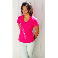 Tee-shirt PIXIT - Rosace Maori - Fushia - Col V - Coupe Cintrée - Près du corps