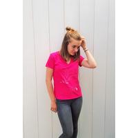 Tee-shirt PIXIT - Constellation Florale - Fushia - Col V - Coupe Cintrée - Près du corps