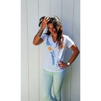 Tee-shirt PIXIT - Tortue Maori - Blanc -  Col V - Coupe Cintrée - Près du corps