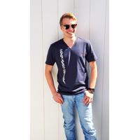 Tee-shirt PIXIT - Ligne Maori - Bleu Navy - Col V - Coupe ajustée