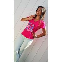 Tee-shirt PIXIT - Design carré- Fushia -  Col V - Coupe Cintrée - Près du corps