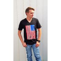 Tee-shirt PIXIT - Drapeau Américain Vintage -Noir - Flocage effet brillant - Col V - Coupe ajustée