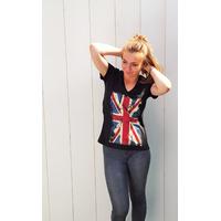 Tee-shirt PIXIT - Drapeau  Union Jack - Vintage - Noir -Flocage effet patiné  Col V - Coupe Cintrée - Près du corps