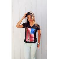 Tee-shirt PIXIT - Drapeau Américain Vintage -Noir-Flocage effet  brillant - Col V - Coupe Cintrée - Près du corps