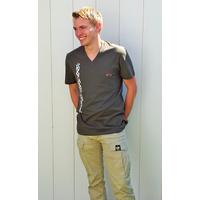Tee-shirt PIXIT - Ligne Maori - Kaki  -  Col V - Coupe ajustée
