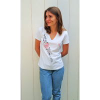 Tee-shirt PIXIT - Rosace Maori - Blanc - Col V - Coupe Cintrée - Près du corps