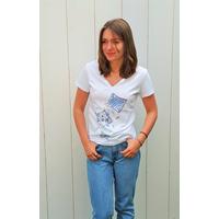 Tee-shirt PIXIT  - Ligne Géométrique - Blanc - Col V - Coupe Cintrée - Près du corps
