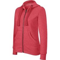 Sweat-shirt Pixit - Femme - ZIPPE   - Rouge Chiné - Poches kangourou -Capuche doublée nid d'abeille - 300/gm²- Coupe cintrée Taille petit