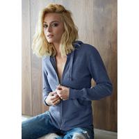 Sweat-shirt Pixit - Femme - ZIPPE  - Bleu Chiné - Poches kangourou -Capuche doublée nid d'abeille - 300/gm² - Coupe cintrée Taille petit