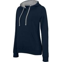 Sweat-shirt Pixit NON ZIPPE - Femme - Bleu Navy / Capuche Grise - Poches kangourou -Passe fil écouteurs dans la poche kangourou et encolure - 280/gm²