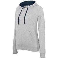 Sweat-shirt Pixit NON ZIPPE- Femme -Gris  / Capuche Bleu Navy - Poches kangourou -Passe fil écouteurs dans la poche kangourou et encolure - 280/gm²