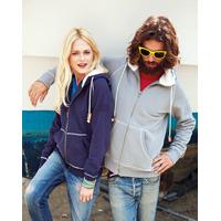 Sweat-shirt Pixit Bleu Navy Zippé UNISEXE  -Capuche et poches doublées en sherpa-Aspect Vintage -Finition bord-côte entrée de poches, bas de manches et bas de vêtement -340 g/m²
