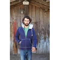 Sweat-shirt  Pixit Bleu Navy UNISEXE Zippé  -Capuche et poches doublées en sherpa-Aspect Vintage -Finition bord-côte entrée de poches, bas de manches et bas de vêtement -340 g/m²