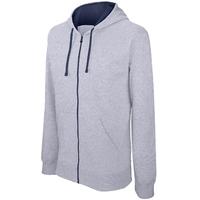 Sweat-shirt Pixit  Homme  Gris clair   - ZIPPE - Capuche doublée et contrastée avec cordon de serrage-Molleton gratté-Passe fil écouteurs dans la poche kangourou et encolure-280 g/m²