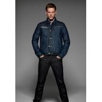 Veste Jean Homme Bleu Denim-  100% coton finition lavée -Boutons métalliques en laiton vieilli -2 poches latérales et 1 poche poitrine à finitions visibles en denim retourné