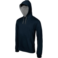 Sweat-shirt Pixit  Homme Bleu Navy  NON ZIPPE  - Capuche doublée et contrastée avec cordon de serrage-Molleton gratté-Passe fil écouteurs dans la poche kangourou et encolure-280 g/m²