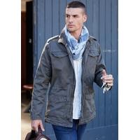 Veste Militaire Kaki Homme -100% Coton Sergé -Aspect Vintage-2 poches plaquées devant + 2 poches poitrine avec rabat et pressions-Pattes boutonnées épaules et bas de manches
