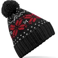 Bonnet motif jacquard-Noir/Rouge/Blanc-style classique, avec revers-100% acrylique