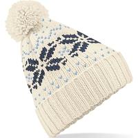 Bonnet motif jacquard-Blanc/Bleu ciel -style classique, avec revers-100% acrylique