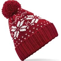 Bonnet motif jacquard-Rouge/Blanc-style classique, avec revers-100% acrylique