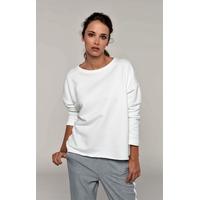 """Sweat-shirt femme """"Loose""""-Ecru -91% coton / 9% Polyester-Molleton non gratté -Toucher ultra doux-Coupe loose décontractée avec large encolure-Finitions double aiguille bas de manches-270 g/m²"""
