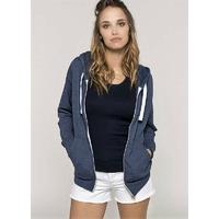 Sweat-shirt Zippé Femme-Bleu Chiné- 52% coton peigné/48% polyester-Poche kangourou-Capuche doublée-Fermeture zippée contrastée avec cordon de serrage-260 g/m²
