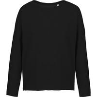 """Sweat-shirt femme """"Loose""""-Noir -91% coton / 9% Polyester-Molleton non gratté -Toucher ultra doux-Coupe loose décontractée avec large encolure-Finitions double aiguille bas de manches-270 g/m"""
