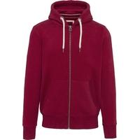"""Sweat-shirt vintage Rouge  zippé à capuche homme-Molleton gratté-80% coton / 20% polyester -Toucher peau de pêche et aspect """"Vintage"""""""