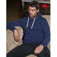 """Sweat-shirt capuche non zippé Bleu /Navy -80% Coton / 20% Polyester Molleton gratté. Toucher peau de pêche et aspect """"Vintage"""". Capuche doublée.Poches kangourou"""