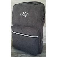 Sac à dos Pixit Gris en coton canvas avec zips contrastés couleur métal. Compartiment interne zippé matelassé. Bretelles et dos matelassés. Poche à soufflet zippée