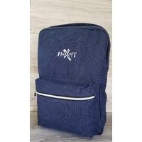 Sac à dos PIXIT Bleu / Navy en coton canvas avec zips contrastés couleur métal. Compartiment interne zippé matelassé. Bretelles et dos matelassés. Poche à soufflet zippée