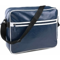 Sac Courrier / Messenger PIXIT  en PVC - Look rétro usé - Vintage - Bleu Navy bande blanches