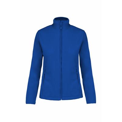 Veste Micropolaire Royal Blue -100% Polyester-micropolaire anti-boulochage. Fermeture zippée. Coupe cintrée. 2 poches zippées. Biais de finition col, poignets et zip.