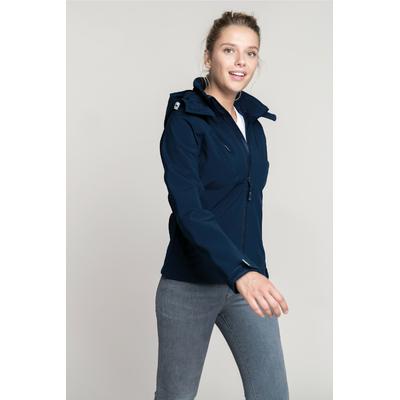 Veste softshell à capuche amovible Bleu Navy-95%Polyester/5% élasthanne-Tissu contrecollé 3 couches respirant 1000 g/m²/ 24 h et imperméable 5000 mm-Couche intérieure : micropolaire anti-boulochage.