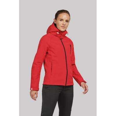 Veste softshell à capuche amovible Rouge -95%Polyester/5% élasthanne-Tissu contrecollé 3 couches respirant 1000 g/m²/ 24 h et imperméable 5000 mm-Couche intérieure : micropolaire anti-boulochage.