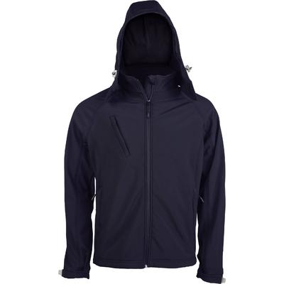 Veste softshell à capuche amovible Bleu Navy -95%Polyester/5% élasthanne-Tissu contrecollé 3 couches respirant 1000 g/m²/ 24 h et imperméable 5000 mm-Couche intérieure : micropolaire anti-boulochage.