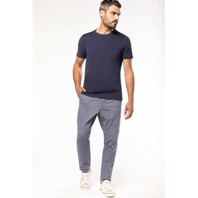 Tee-shirt vintage manches courtes homme-Bleu/Navy-100% coton -Toucher peau de pêche et aspect Vintage-Finition double aiguille-Double bande de propreté en chevron à l'encolure.