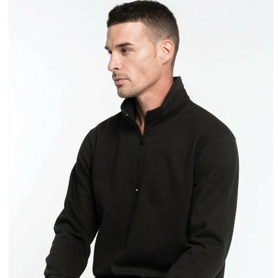 Sweat-shirt col zippé Gris Anthracite-80% coton / 20% Polyester-Molleton gratté. Manches montées. bande de propreté ton sur ton. Finition bord-côte bas de manches et de vêtement.