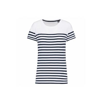T-shirt marin col rond Bio femme blanc/rayures bleues  -100% coton peigné biologique-Bande de propreté au col. Finition double aiguille bas de manches et bas de vêtement